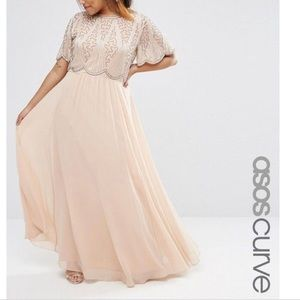 NWT ASOS Curve size 16 embellished cream dress